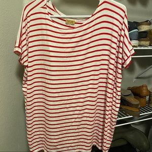 Red and White Stripe Piko Top